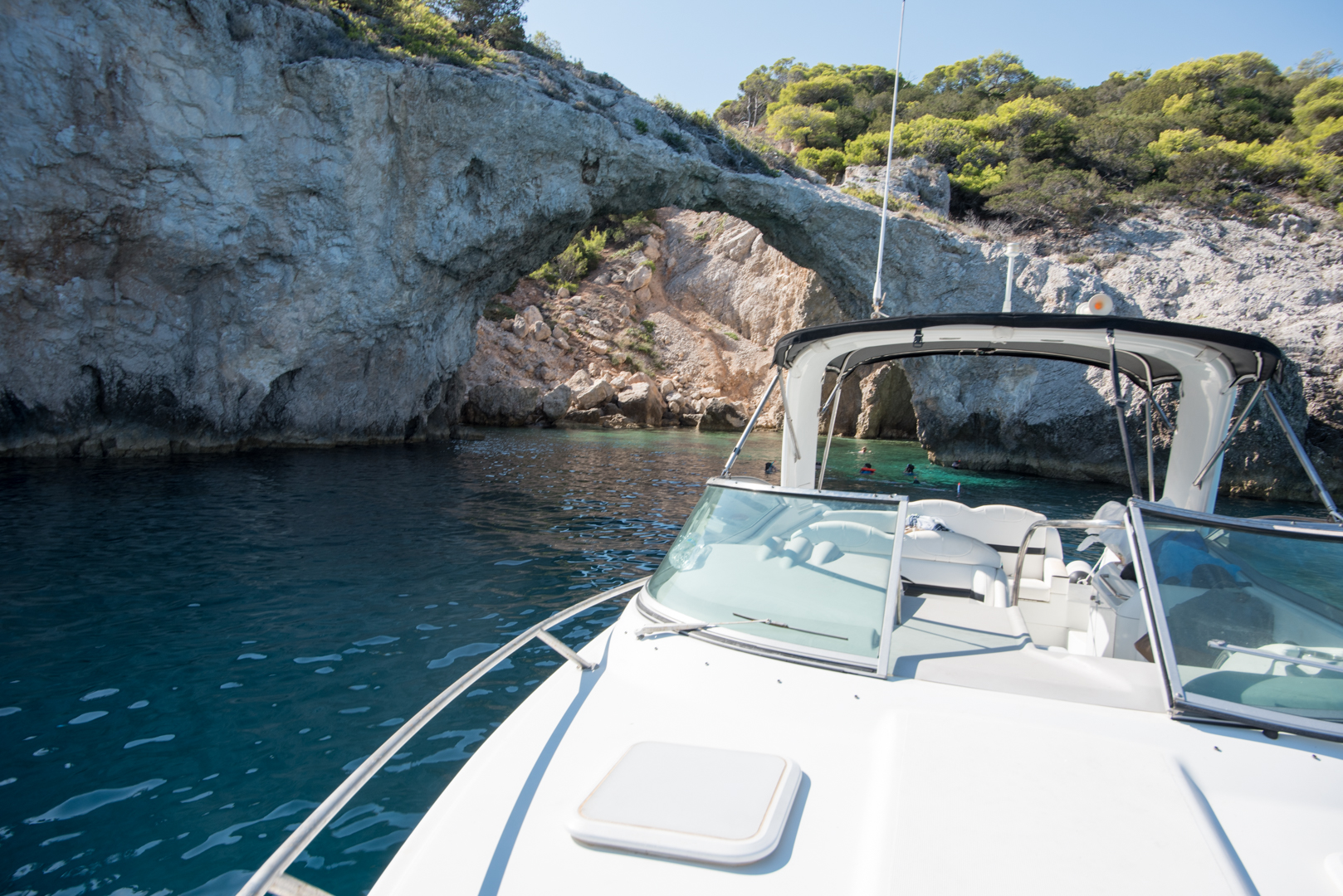 Hidden cave of the Corinthian visited by Lido Blue boating