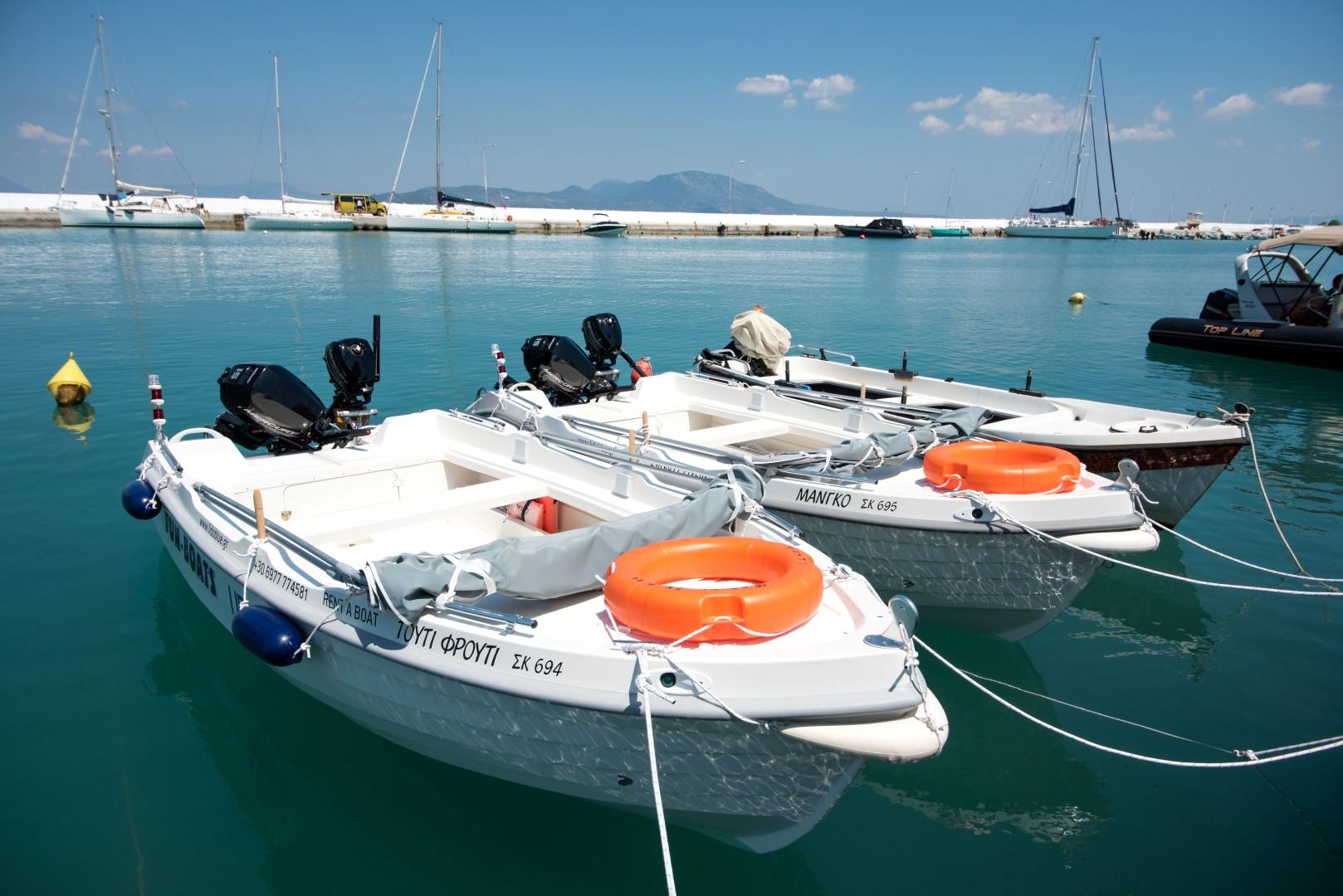 Small boats for rent at Kiato Marina